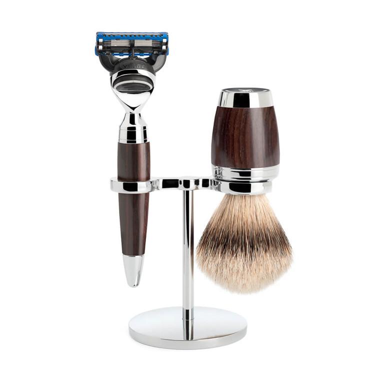 Mühle Barbersæt med Skraber, Silvertip Barberkost og Holder, Stylo, African Blackwood