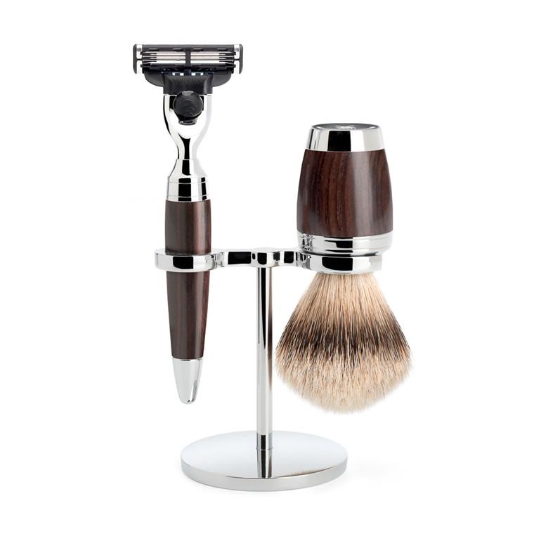 Mühle Barbersæt med Mach3 Skraber, Barberkost og Holder, Stylo, African Blackwood