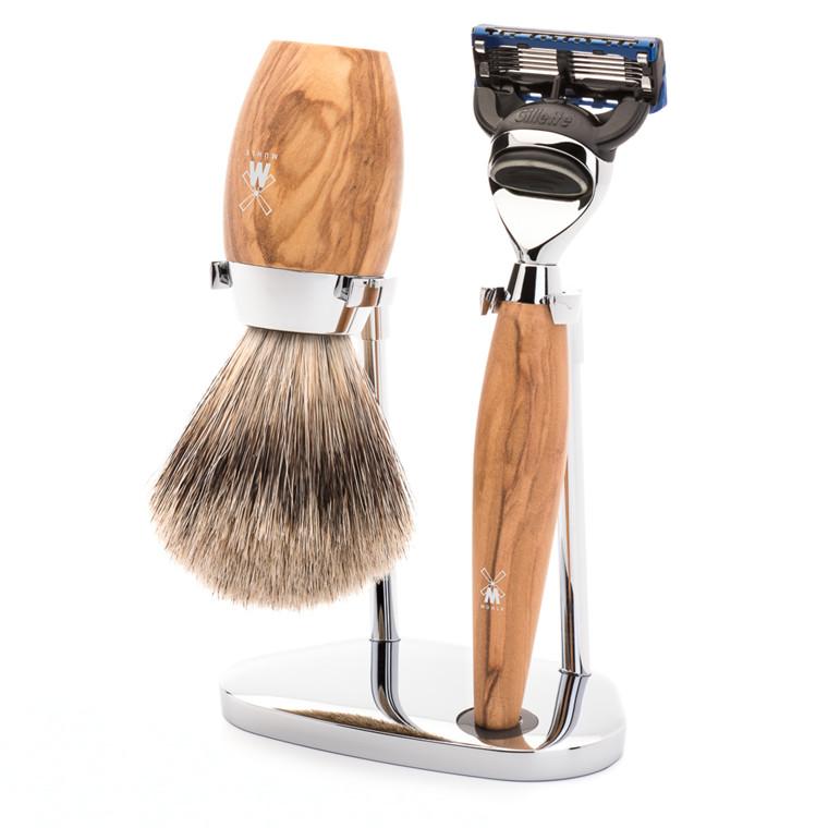 Mühle barbersæt med Skraber, Silvertip Barberkost og Holder, Kosmo, Oliventræ