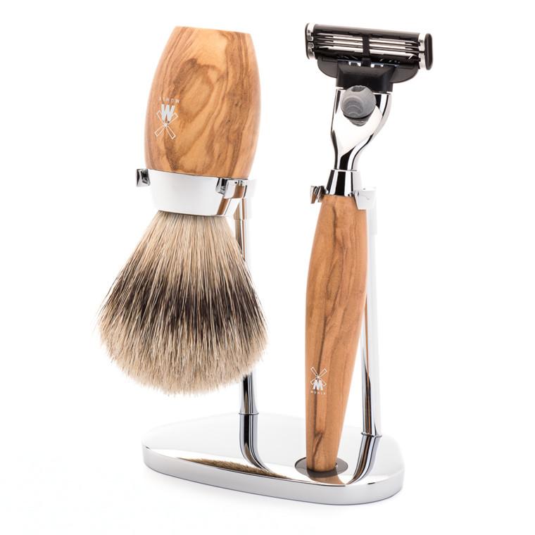 Mühle barbersæt med Mach3 Skraber, Silvertip Barberkost og Holder, Kosmo, Oliventræ