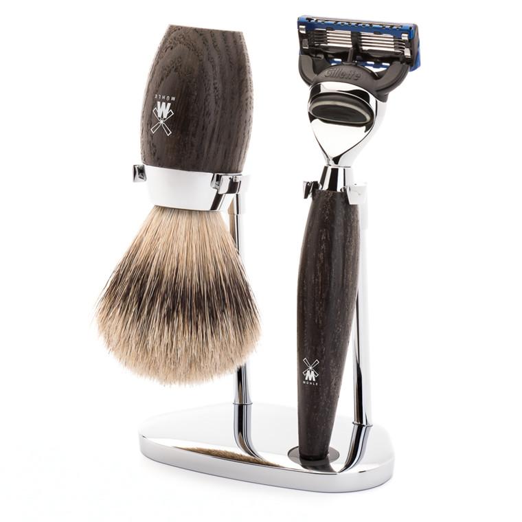 Mühle barbersæt med Skraber, Silvertip Barberkost og Holder, Kosmo, Moseeg