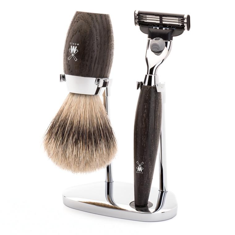 Mühle barbersæt med Mach3 Skraber, Silvertip Barberkost og Holder, Kosmo, Moseeg