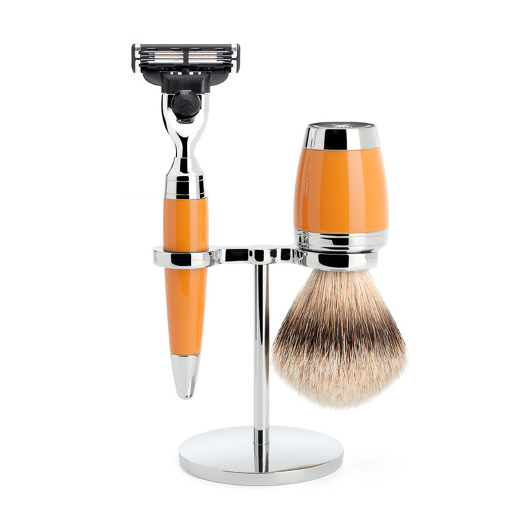Mühle Barbersæt med Mach3 Skraber, Barberkost og Holder, Stylo, Butterscotch