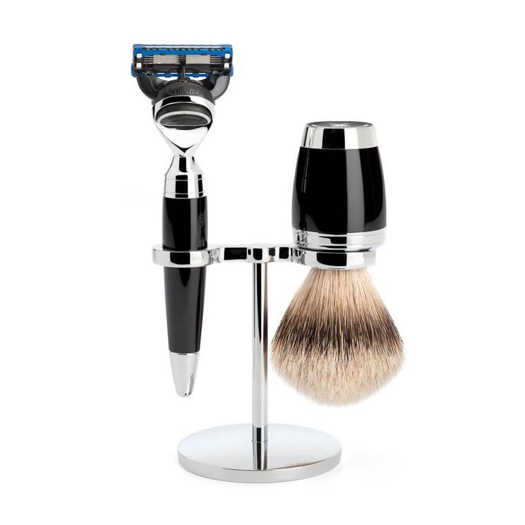 Mühle Barbersæt med Skraber, Silvertip Barberkost og Holder, Stylo, Sort Kunstharpiks