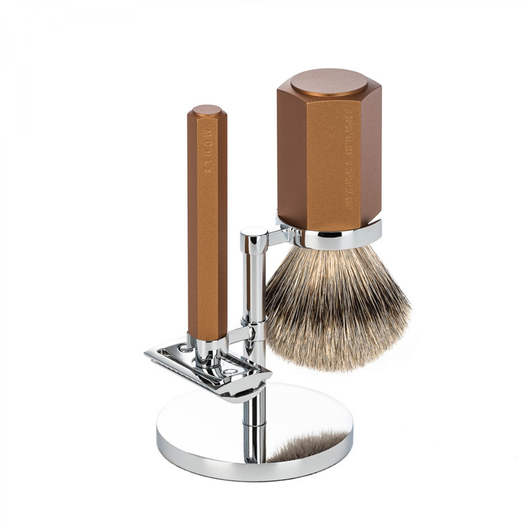 Mühle x Mark Braun Barbersæt med DE-skraber, Silvertip Barberkost og holder, Hexagon, Aluminium Bronze