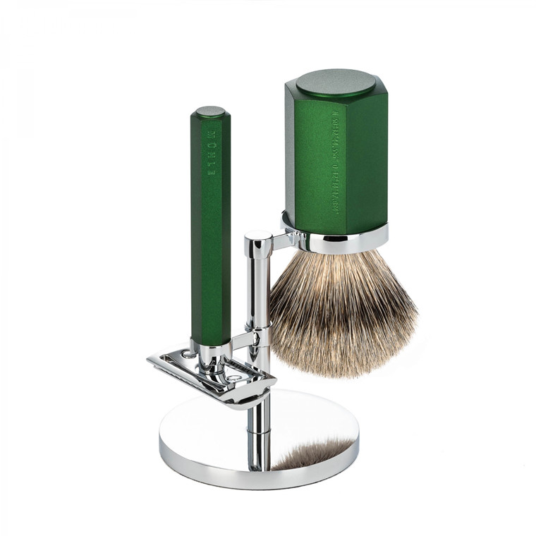 Mühle x Mark Braun Barbersæt med DE-skraber, Silvertip Barberkost og holder, Hexagon, Aluminium Forest