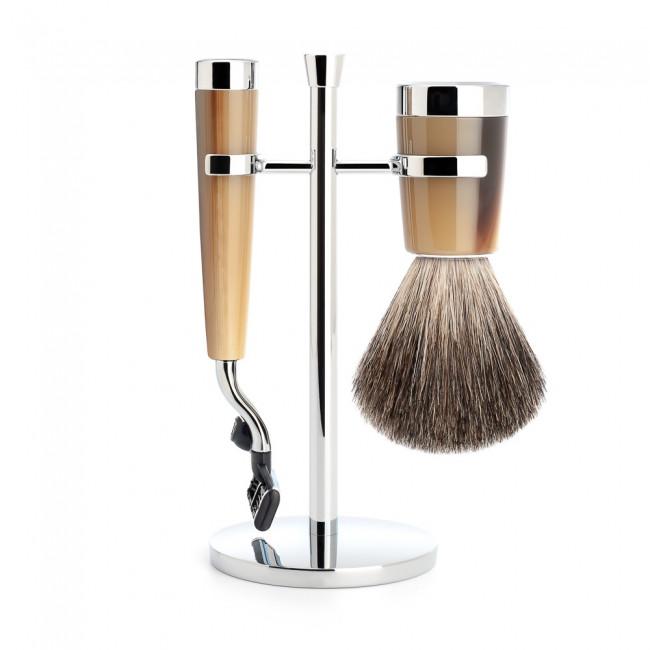 Mühle barbersæt med Mach3 Skraber, Barberkost og Holder, Liscio, Brunt Horn