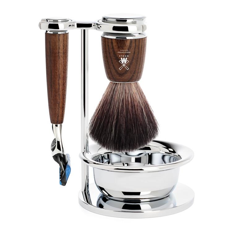 Mühle barbersæt med Fusion Skraber, Børste, Holder og Skål, Rytmo, Ask