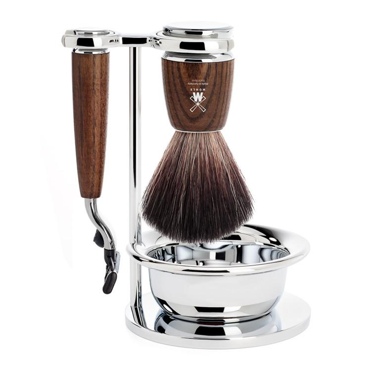Mühle barbersæt med Mach3 Skraber, Børste, Holder og Skål, Rytmo, Ask