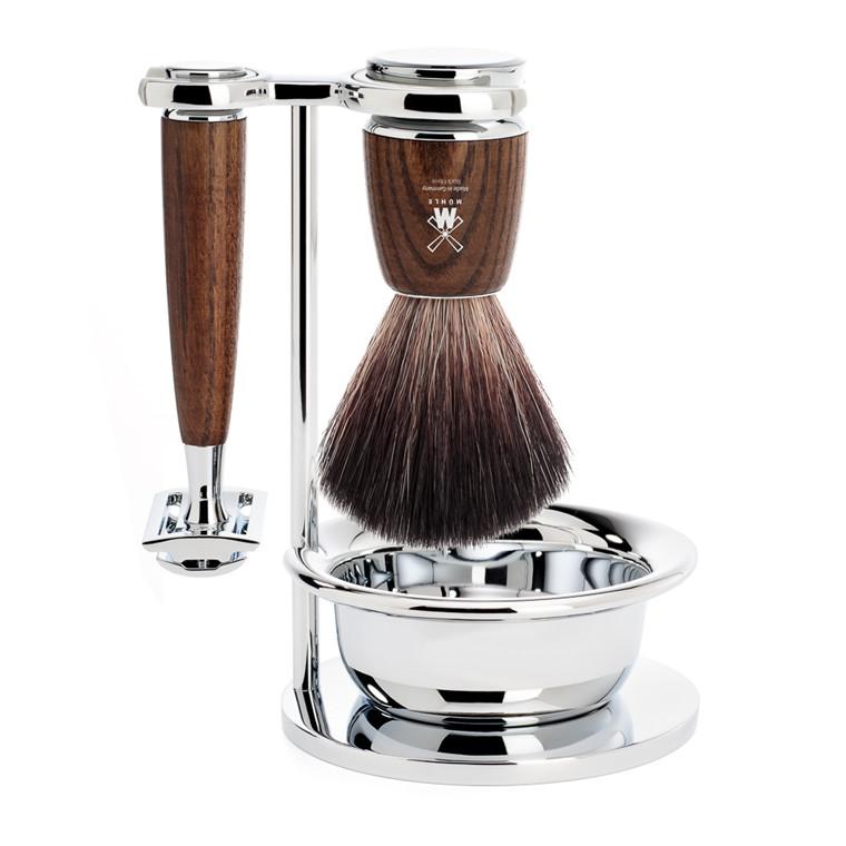 Mühle barbersæt med DE-skraber, Fiber Barberkost, Holder og Skål, Rytmo, Ask