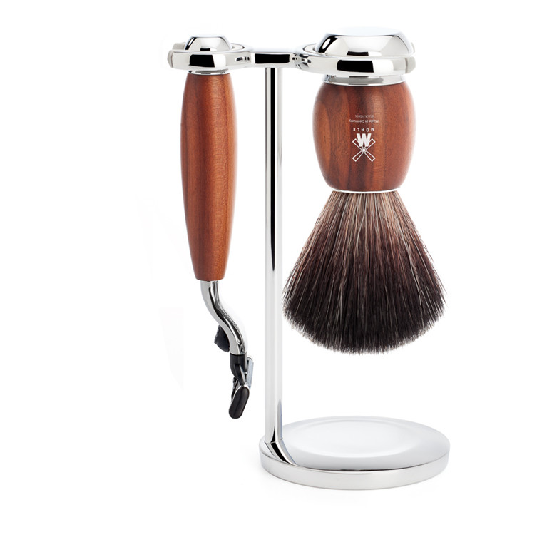 Mühle barbersæt med Mach3 Skraber, Fiber Barberkost og Holder, Vivo, Blommetræ