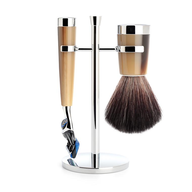 Mühle barbersæt med Fusion Skraber, Barberkost og Holder, Liscio, Brunt Horn