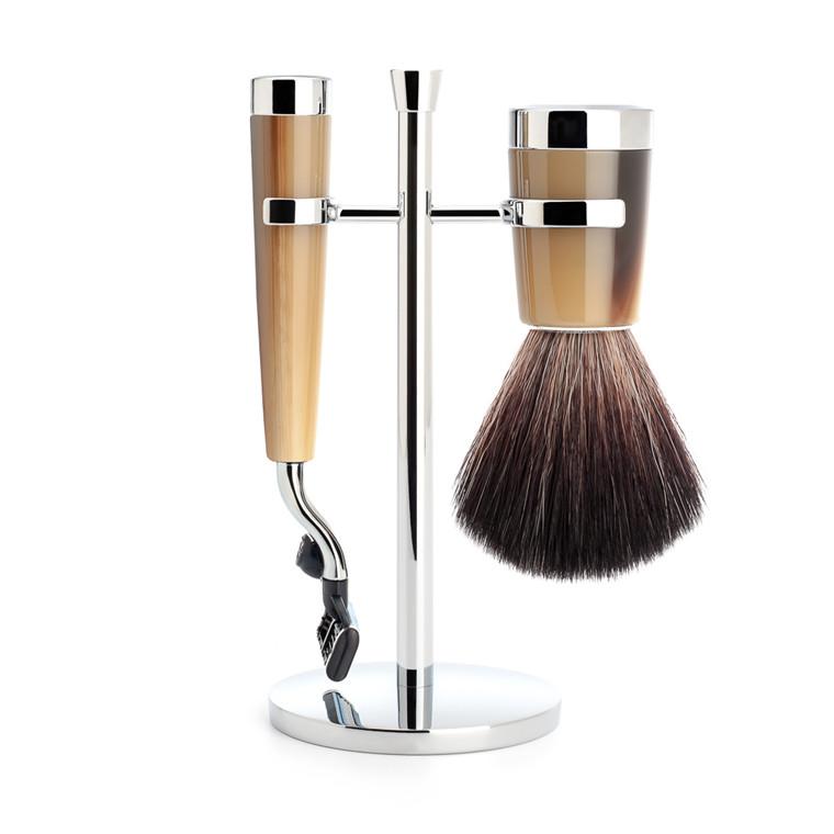 Mühle barbersæt med Mach3 Skraber, Fiber Barberkost og Holder, Liscio, Brunt Horn