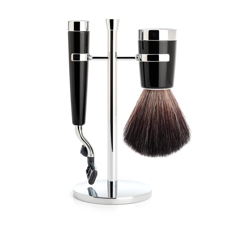 Mühle barbersæt med Mach3 Skraber, Fiber Barberkost og Holder, Liscio, Sort Kunstharpiks