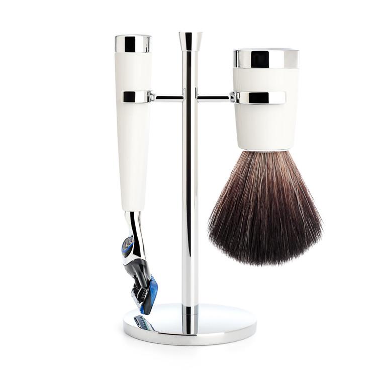 Mühle barbersæt med Fusion Skraber, Barberkost og Holder, Liscio, Hvidt Kunstharpiks