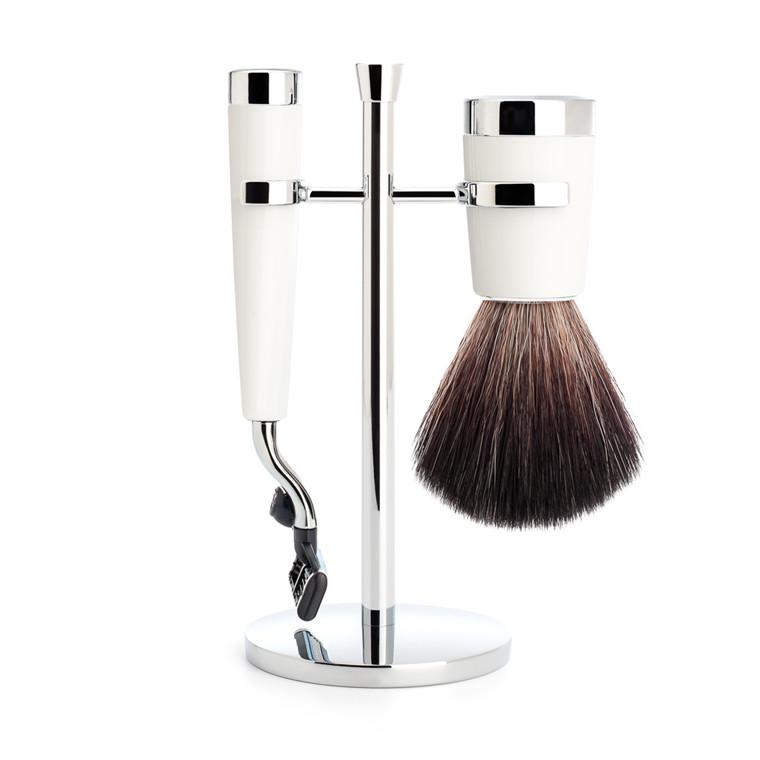 Mühle barbersæt med Mach3 Skraber, Barberkost og Holder, Liscio, Hvidt Kunstharpiks