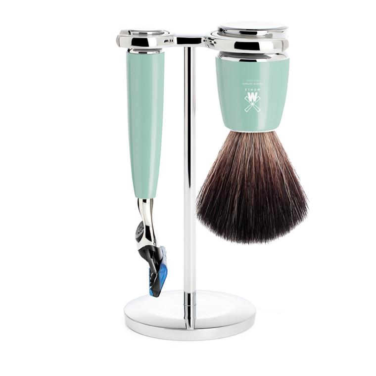 Mühle barbersæt med Fusion skraber, Barberkost og Holder, Rytmo, Mintgrøn