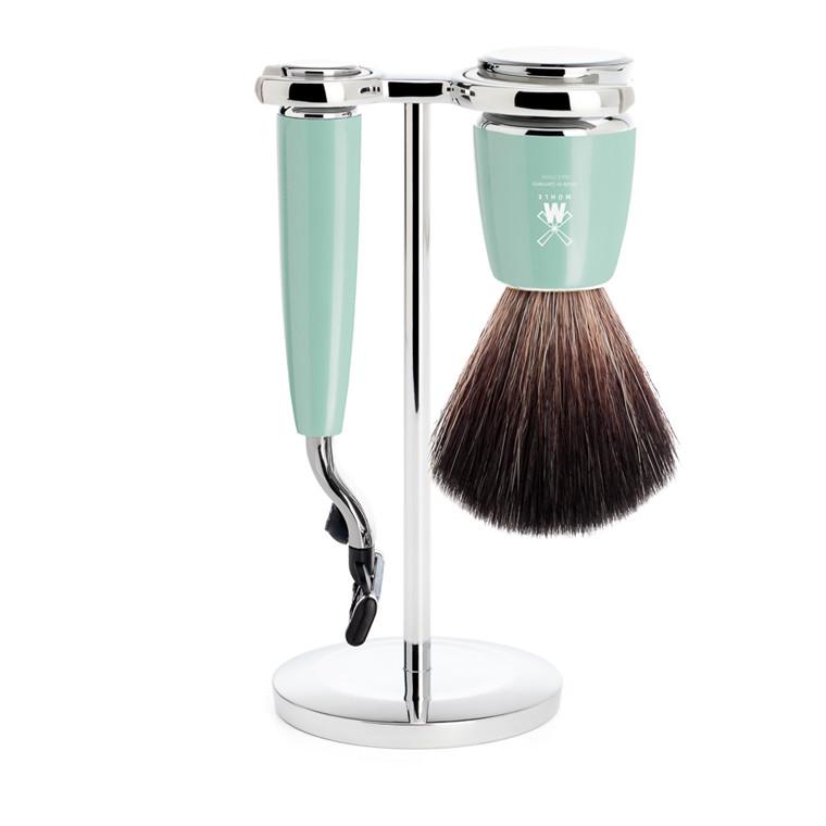 Mühle barbersæt med Mach3 skraber, Fiber Barberkost og Holder, Rytmo, Mintgrøn