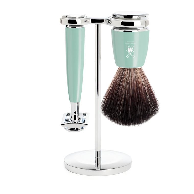 Mühle barbersæt med DE-skraber, Fiber Barberkost og Holder, Rytmo, Mintgrøn