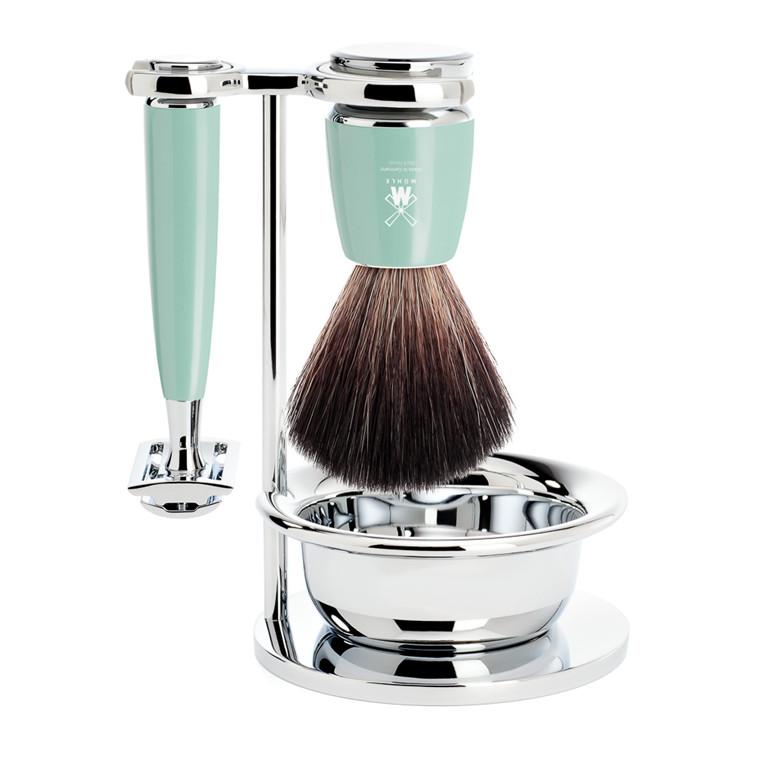 Mühle barbersæt med DE-skraber, Fiber Barberkost, Holder og Skål, Rytmo, Mintgrøn