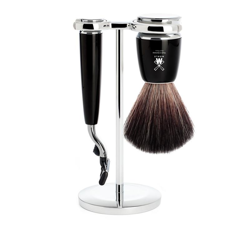 Mühle barbersæt med Mach3 skraber, Fiber Barberkost og Holder, Rytmo, Sort Kunstharpiks