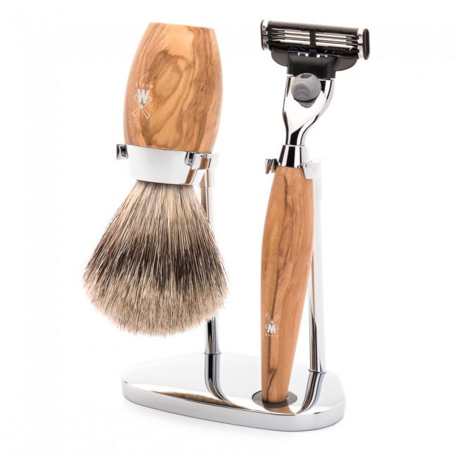 Mühle barbersæt med Mach3 Skraber, Barberkost og Holder, Kosmo, Oliventræ