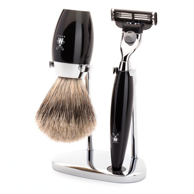 Mühle barbersæt med Mach3 Skraber, Fine Badger Barberkost og Holder, Kosmo, Sort Kunstharpiks