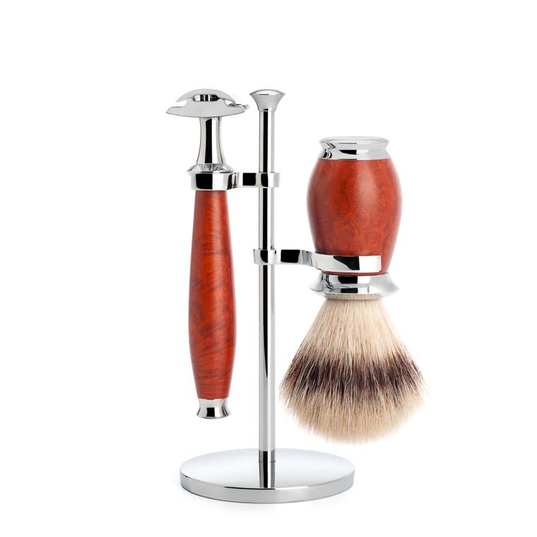 Mühle Barbersæt med DE-skraber, Barberkost og Holder, Purist, Briar træ
