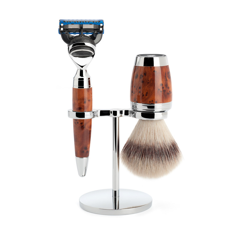 Mühle Barbersæt med Skraber, Barberkost og Holder, Stylo, Thuja Wood