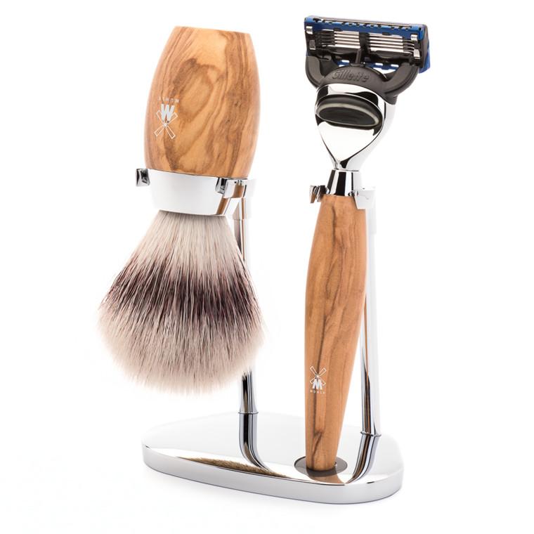 Mühle barbersæt med Skraber, Barberkost og Holder, Kosmo, Oliventræ