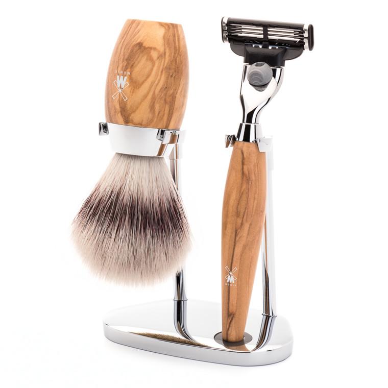 Mühle barbersæt med Mach3 Skraber, Børste og Holder, Kosmo, Oliventræ