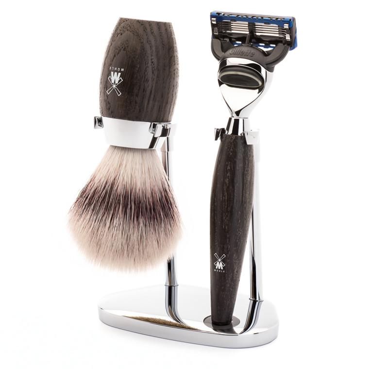 Mühle barbersæt med Skraber, Fiber Barberkost og Holder, Kosmo, Moseeg