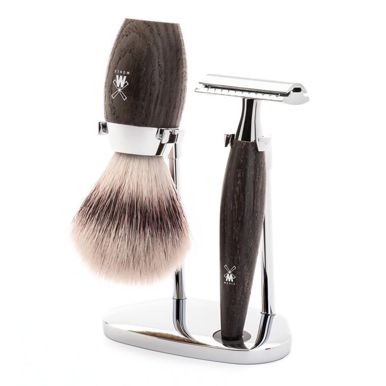 Mühle barbersæt med DE-skraber, Fiber Barberkost og Holder, Kosmo, Moseeg
