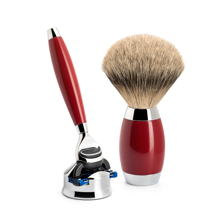 Mühle Edition No. 2, Barbersæt med Skraber, Barberkost og Holder til skraber, 6-lags asiatisk laktræ
