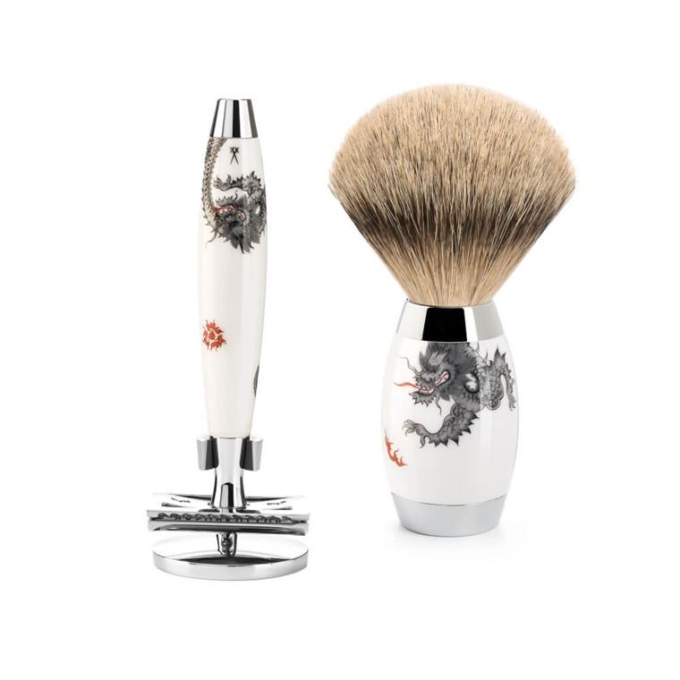 Mühle x Meissen Porcelain Barbersæt med DE-Skraber, Silvertip Barberkost og Holder til skraber, Porcelæn