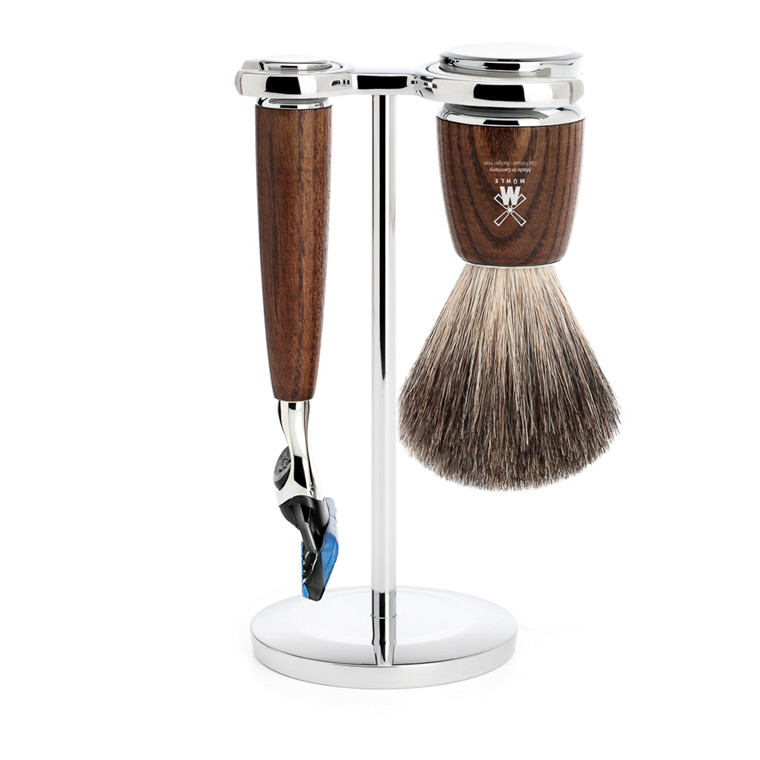 Mühle barbersæt med Skraber, Barberkost og Holder, Rytmo, Ask