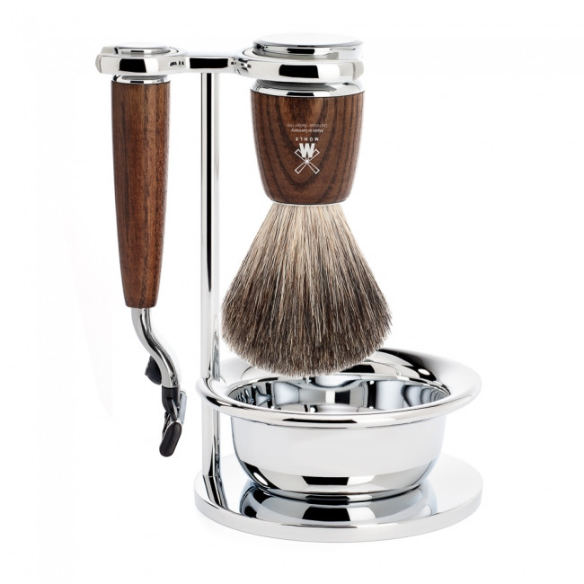 Mühle Barbersæt med Mach3 Skraber, Barberkost, Holder og Skål, Rytmo, Ask