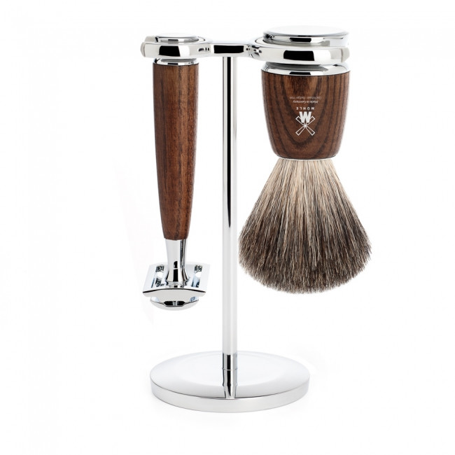 Mühle barbersæt med DE-skraber, Barberkost og Holder, Rytmo, Ask