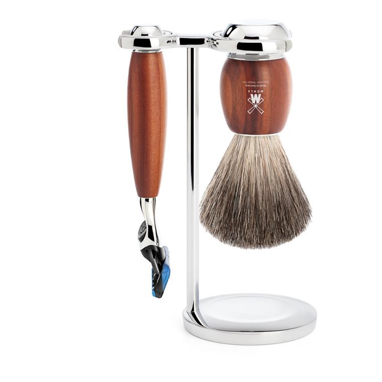 Mühle barbersæt med Skraber, Barberkost og Holder, Vivo, Blommetræ
