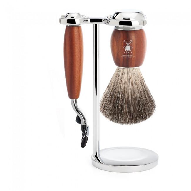 Mühle barbersæt med Mach3 Skraber, Barberkost og Holder, Vivo, Blommetræ