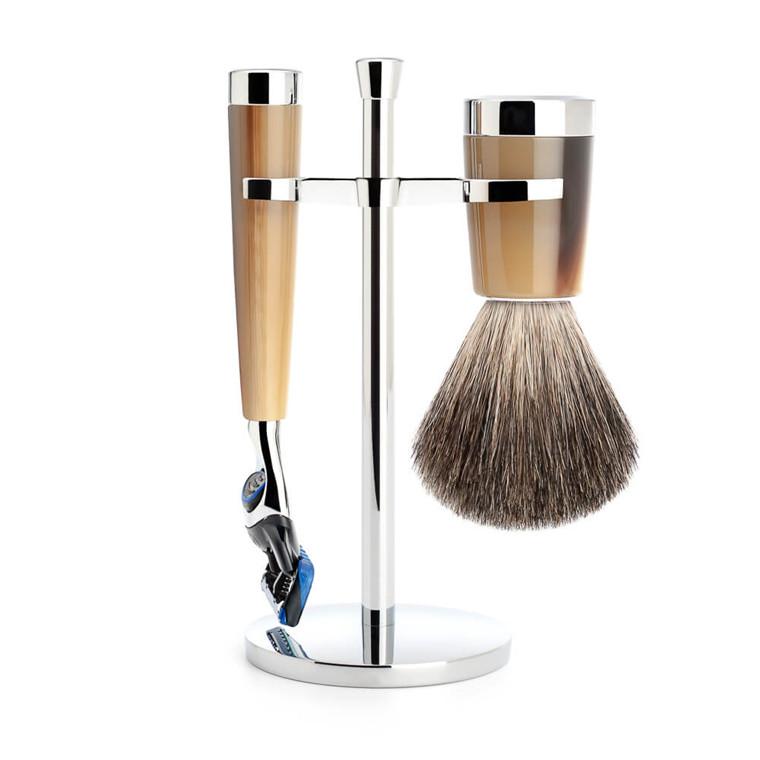 Mühle barbersæt med Skraber, Barberkost og Holder, Liscio, Brunt Horn
