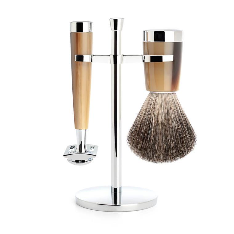 Mühle barbersæt med DE-skraber, Barberkost og Holder, Liscio, Brunt Horn