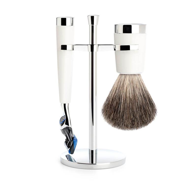 Mühle barbersæt med Skraber, Barberkost og Holder, Liscio, Hvidt Kunstharpiks