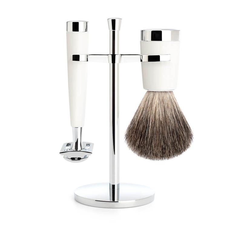 Mühle Barbersæt med DE-skraber, Badger Barberkost og Holder, Liscio, Hvidt Kunstharpiks