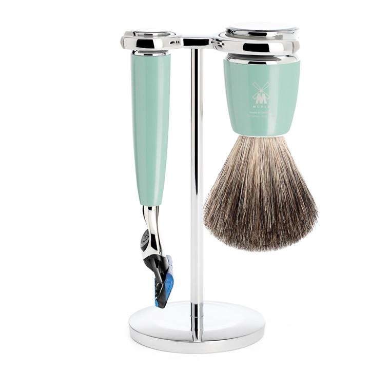 Mühle barbersæt med Skraber, Barberkost og Holder, Rytmo, Mintgrøn