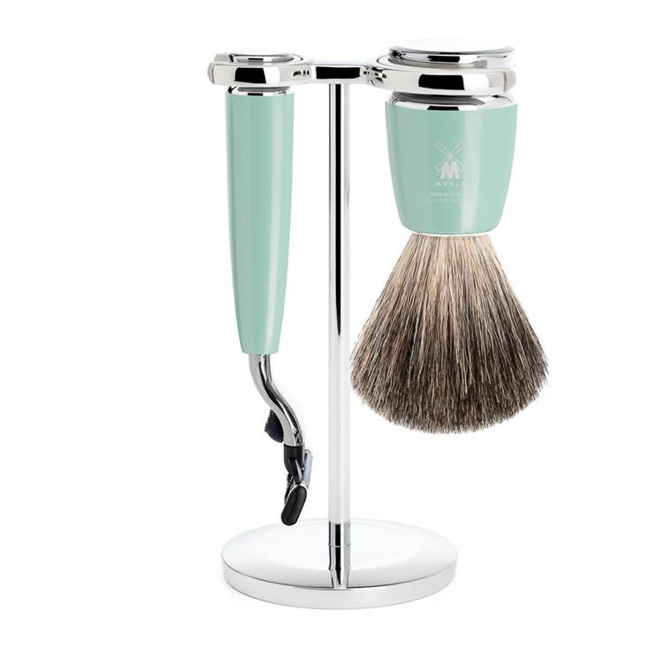 Mühle barbersæt med Mach3 Skraber, Barberkost og Holder, Rytmo, Mintgrøn
