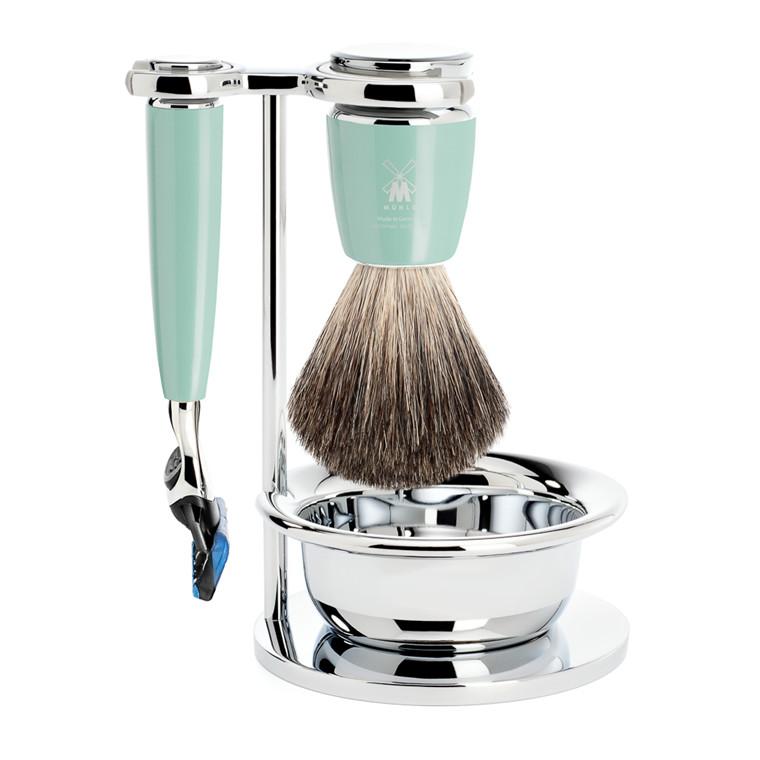 Mühle barbersæt med Skraber, Barberkost, Holder og Skål, Rytmo, Mintgrøn