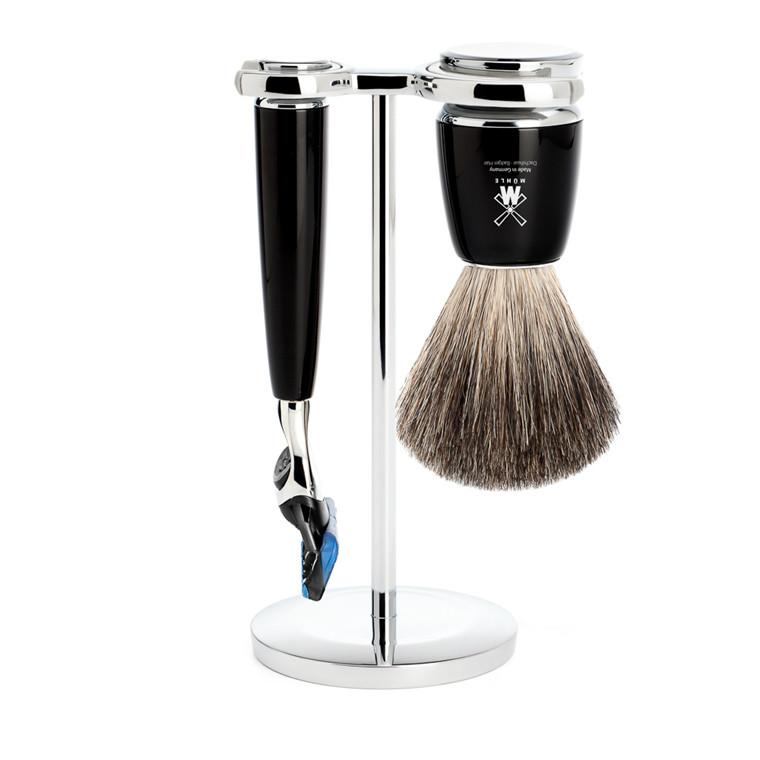 Mühle barbersæt med Skraber, Barberkost og Holder, Rytmo, Sort Kunstharpiks