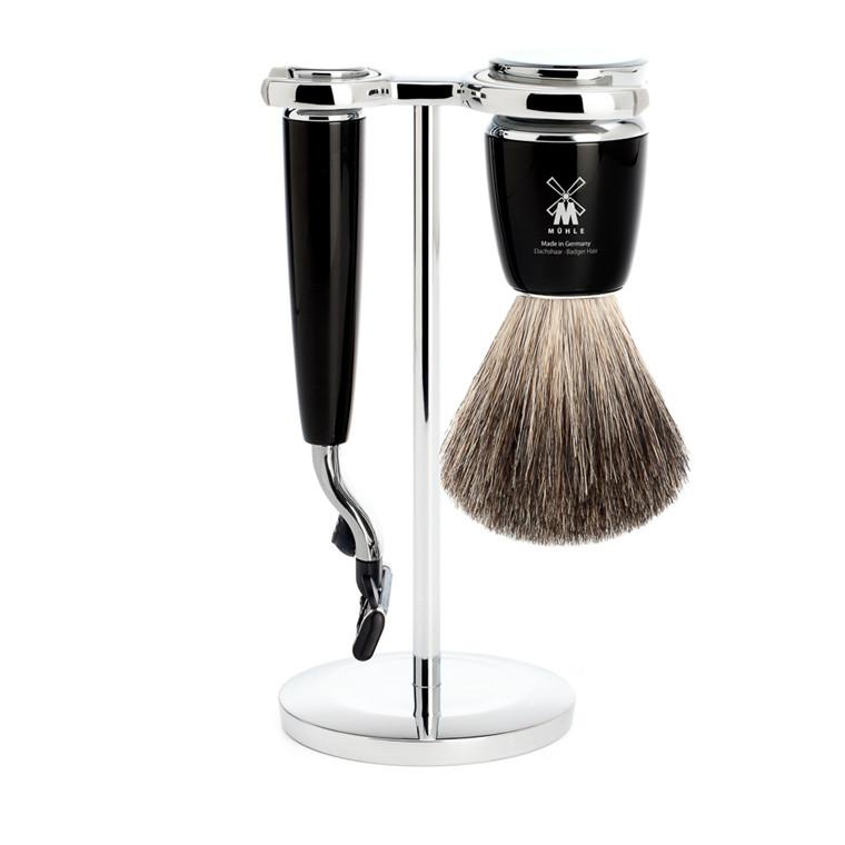 Mühle barbersæt med Mach3 Skraber, Barberkost og Holder, Rytmo, Sort Kunstharpiks