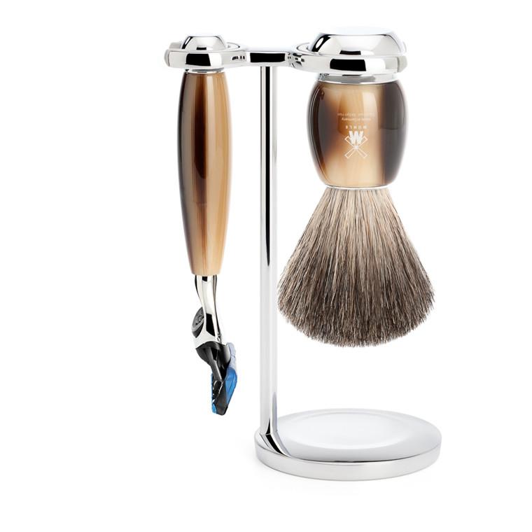 Mühle barbersæt med Skraber, Barberkost og Holder, Vivo, Brunt Horn